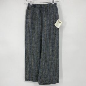 Flax 100% Linen Textured Pull On Pants Wide Leg